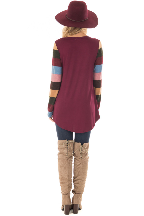 Burgundy Top with Striped Sleeves and Sequin Breast Pocket back full body