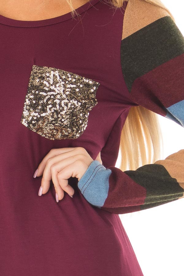 Burgundy Top with Striped Sleeves and Sequin Breast Pocket front detail