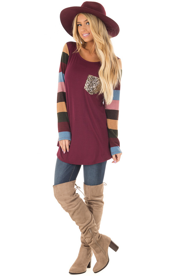 Burgundy Top with Striped Sleeves and Sequin Breast Pocket front full body