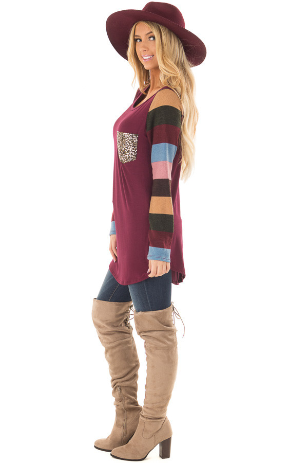 Burgundy Top with Striped Sleeves and Sequin Breast Pocket side full body