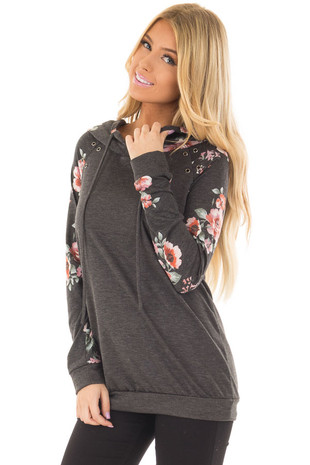 Charcoal Hoodie with Floral Print Contrast and Eyelet Detail front closeup