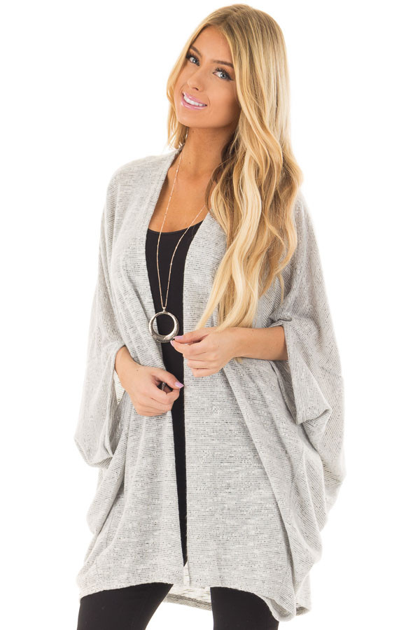 Heather Grey Tone Toned Cardigan front closeup