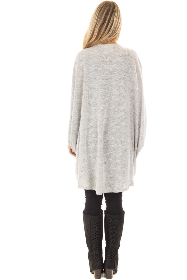 Heather Grey Tone Toned Cardigan back full body