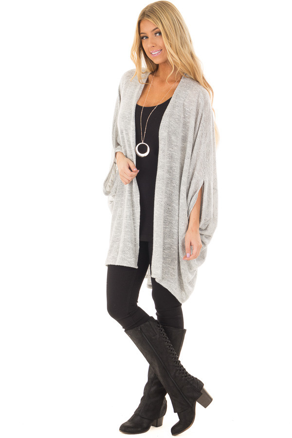Heather Grey Tone Toned Cardigan front full body