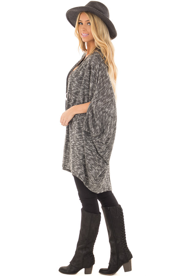 Charcoal Tone Toned Cardigan side full body