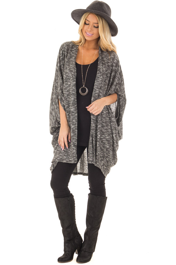 Charcoal Tone Toned Cardigan front full body