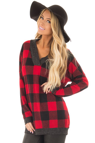 Red and Black Plaid Long Sleeve Top front closeup