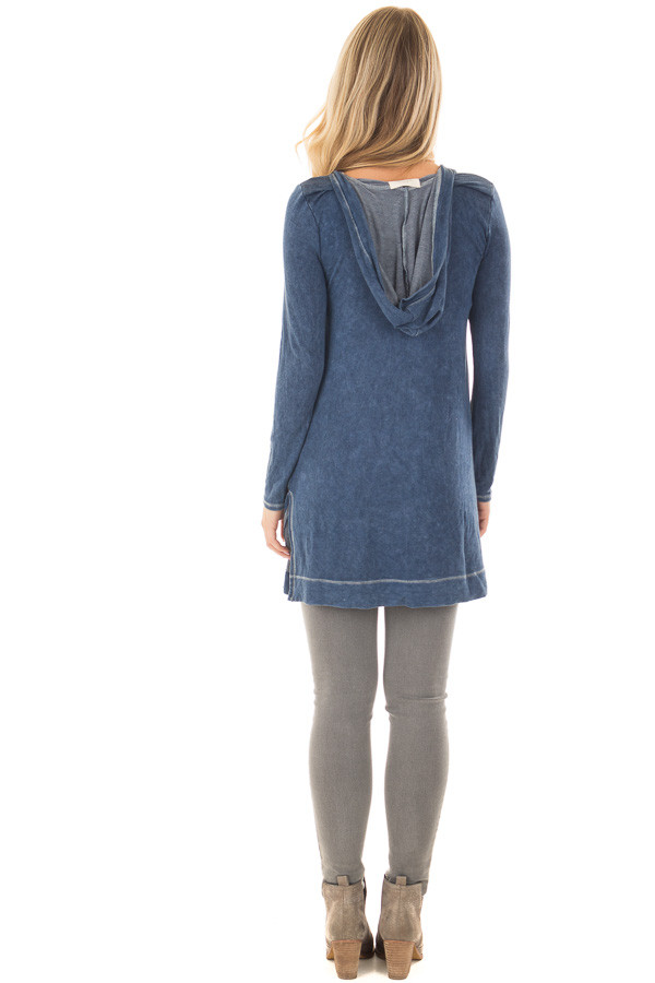 Navy Mineral Wash Long Sleeve Hoodie Tunic back full body