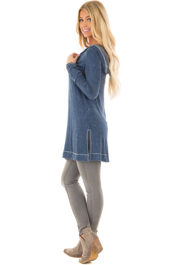 Navy Mineral Wash Long Sleeve Hoodie Tunic side full body
