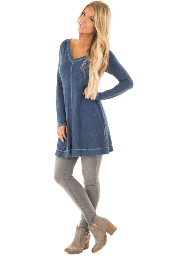 Navy Mineral Wash Long Sleeve Hoodie Tunic front full body