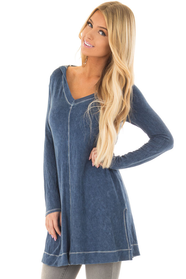 Navy Mineral Wash Long Sleeve Hoodie Tunic front closeup