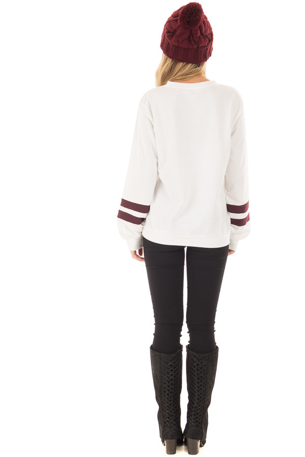 Ivory 'Free Spirit' Sweater with Maroon Striped Sleeves back full body