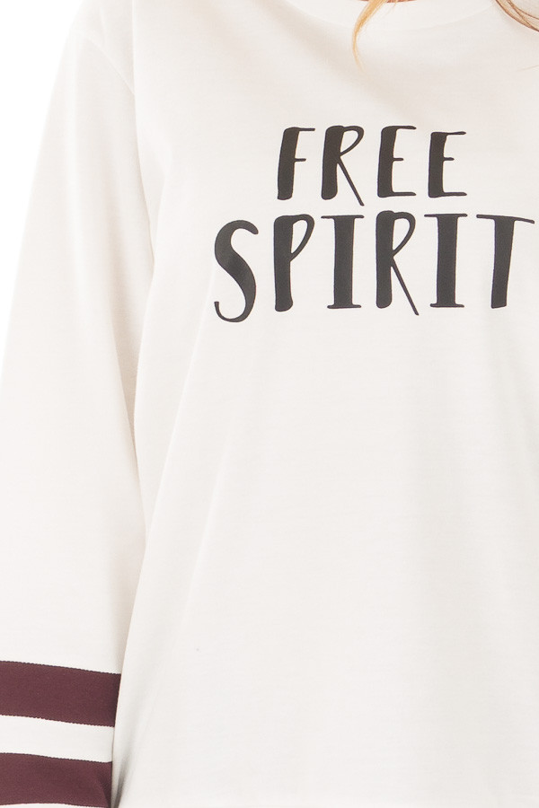 Ivory 'Free Spirit' Sweater with Maroon Striped Sleeves front detail