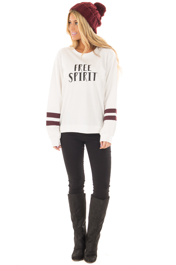 Ivory 'Free Spirit' Sweater with Maroon Striped Sleeves front full body