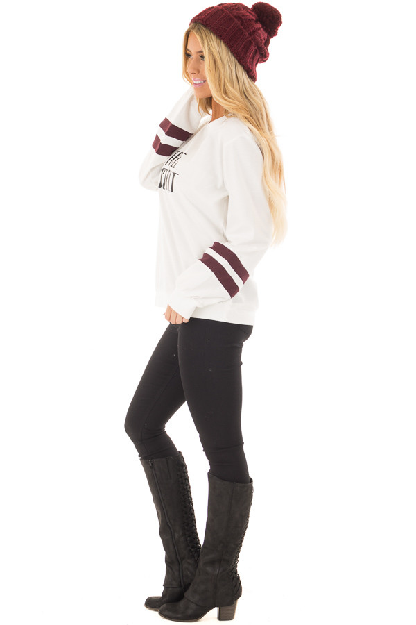 Ivory 'Free Spirit' Sweater with Maroon Striped Sleeves side full body