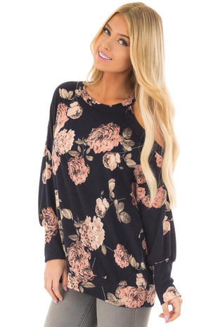 Navy and Peach Floral Print Sweater with Cold Shoulder front closeup