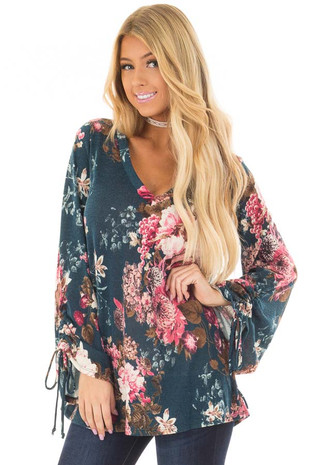 Teal and Blush Floral Top with Tie Sleeve Detail front closeup