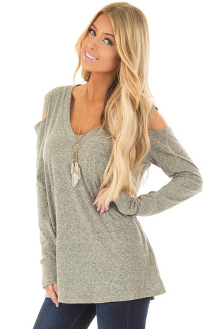 Olive Two Tone V Neck Cold Shoulder Long Sleeve Top front closeup