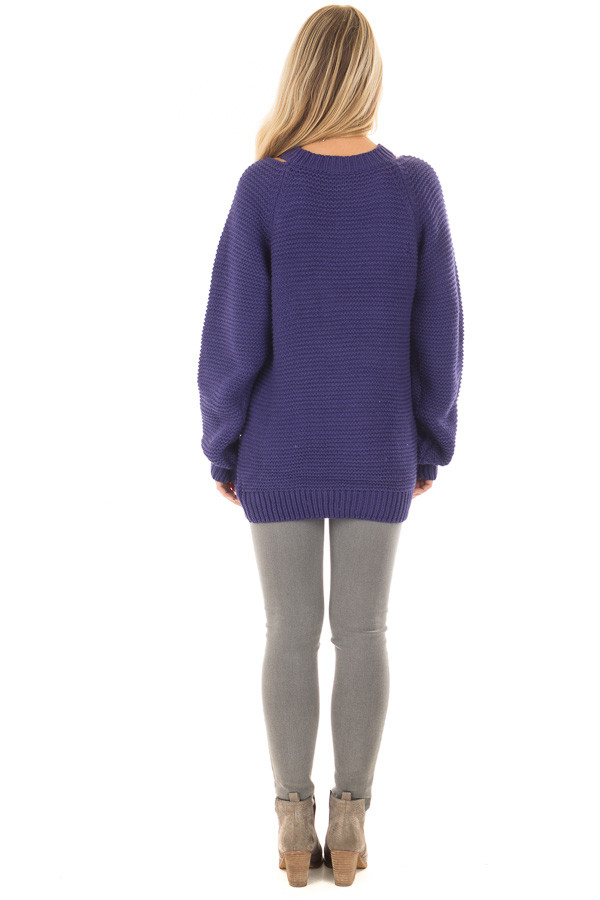 Blueberry Thick Knit Sweater with Neckline Cutout Details back full body