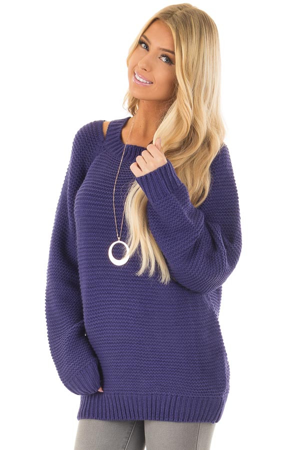 Blueberry Thick Knit Sweater with Neckline Cutout Details front closeup