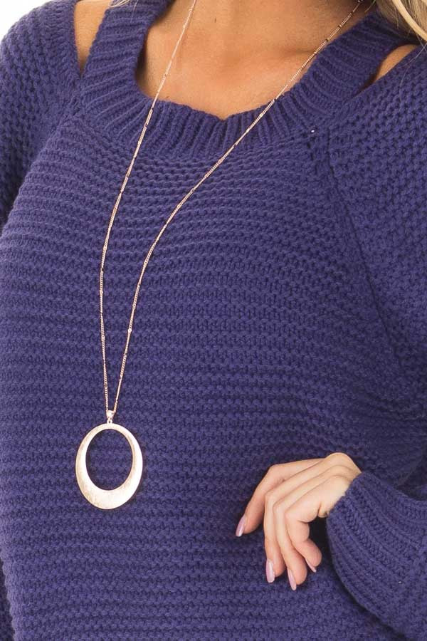 Blueberry Thick Knit Sweater with Neckline Cutout Details front detail