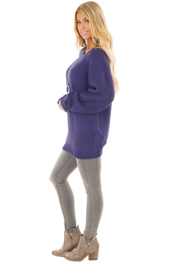 Blueberry Thick Knit Sweater with Neckline Cutout Details side full body