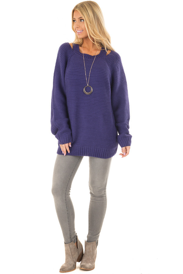 Blueberry Thick Knit Sweater with Neckline Cutout Details front full body