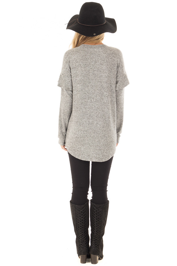 Heather Grey Soft Sweater with Ruffle Sleeve Details back full body