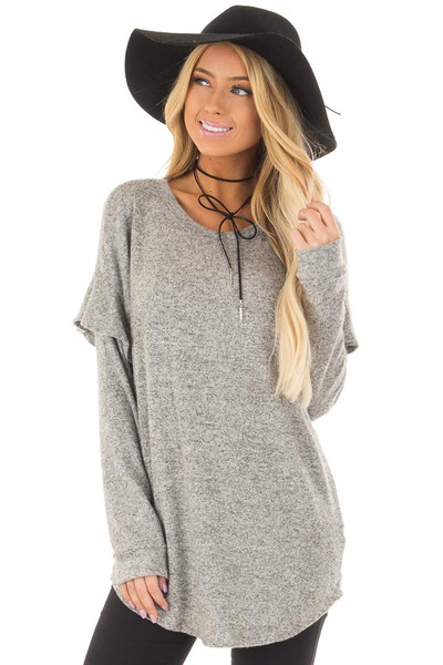 Heather Grey Soft Sweater with Ruffle Sleeve Details front closeup