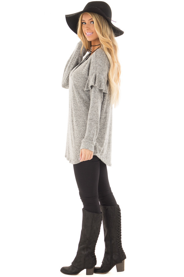 Heather Grey Soft Sweater with Ruffle Sleeve Details side full body