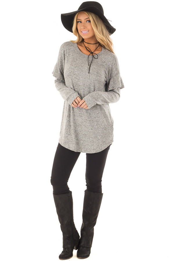 Heather Grey Soft Sweater with Ruffle Sleeve Details front full body