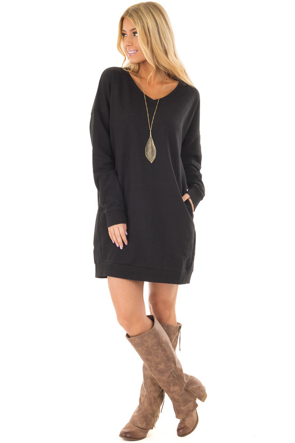 Black Long Sleeve Tunic with Hidden Pockets front full body
