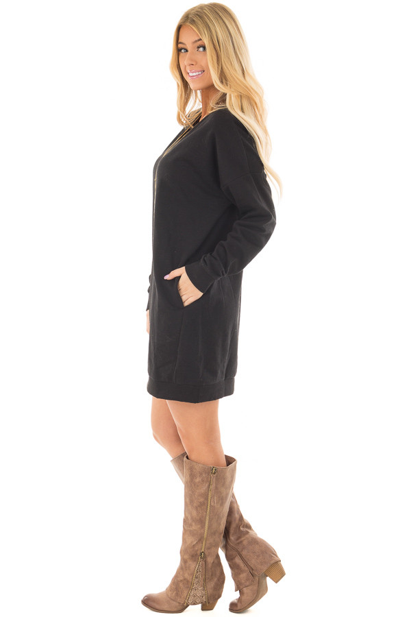 Black Long Sleeve Tunic with Hidden Pockets side full body