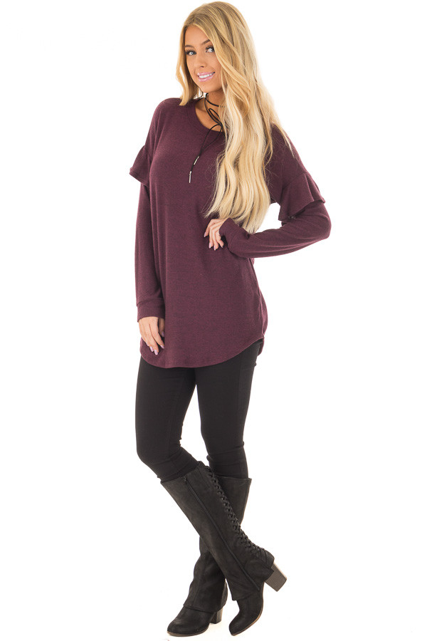 Burgundy Soft Sweater with Ruffle Sleeve Details front full body