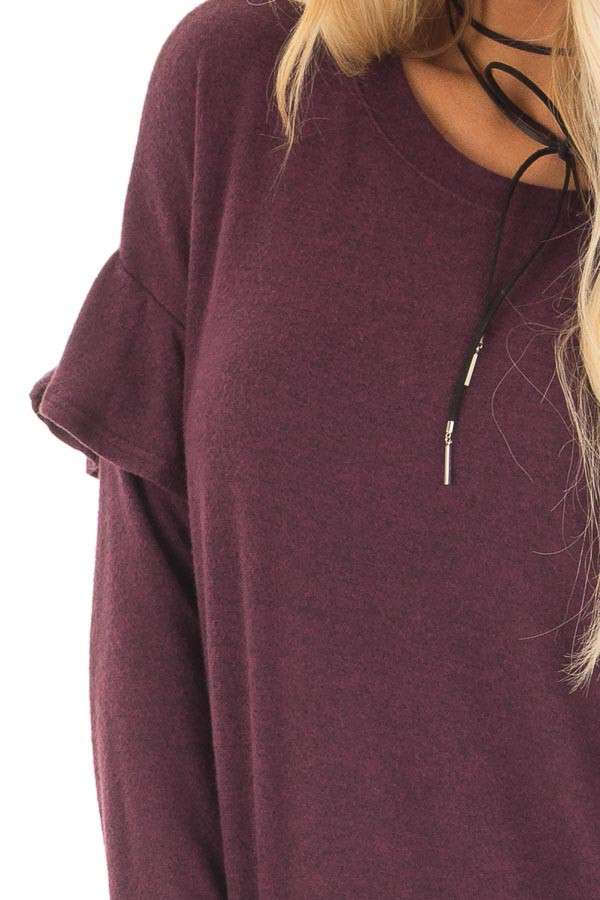 Burgundy Soft Sweater with Ruffle Sleeve Details front detail