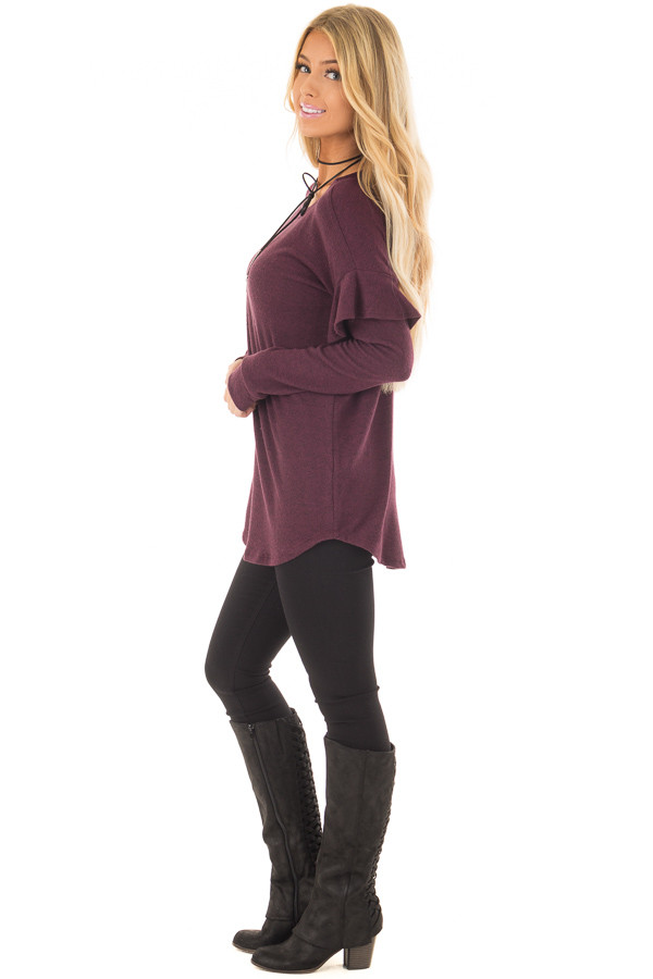 Burgundy Soft Sweater with Ruffle Sleeve Details side full body