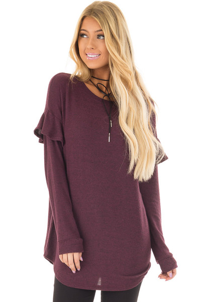Burgundy Soft Sweater with Ruffle Sleeve Details front closeup