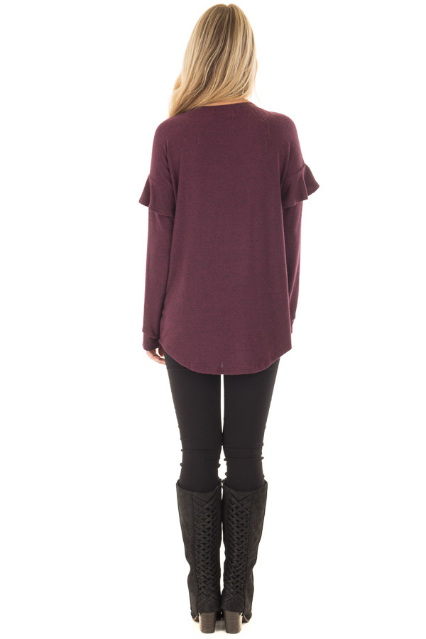 Burgundy Soft Sweater with Ruffle Sleeve Details back full body
