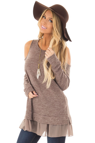 Taupe Two Tone Cold Shoulder Top with Chiffon Hem front closeup