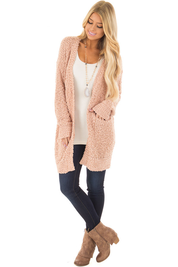 Blush Oversized Soft Cardigan with Pockets front full body