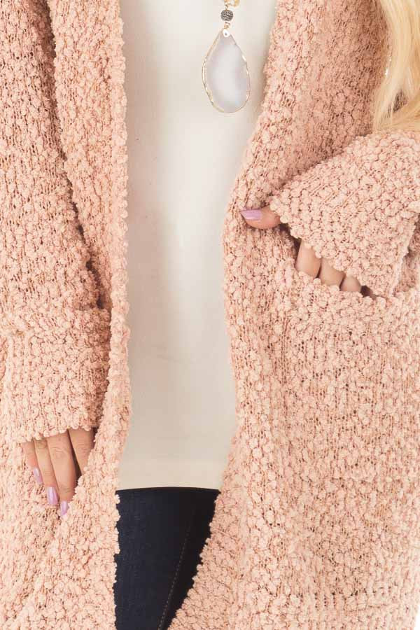 Blush Oversized Soft Cardigan with Pockets front detail