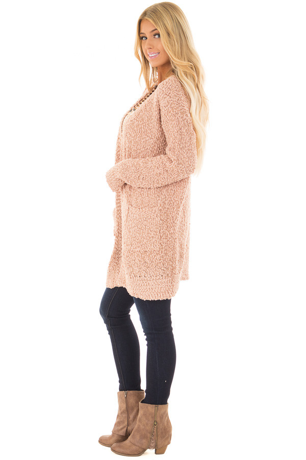 Blush Oversized Soft Cardigan with Pockets side full body