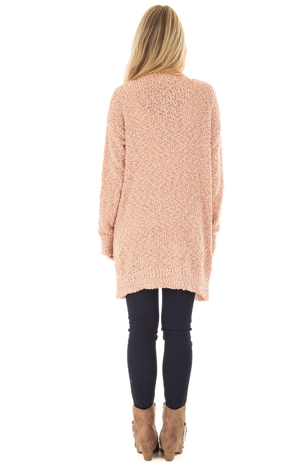 Blush Oversized Soft Cardigan with Pockets back full body