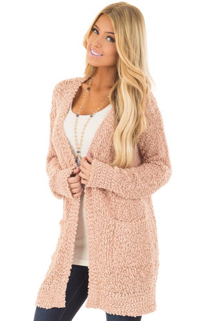 Blush Oversized Soft Cardigan with Pockets front closeup