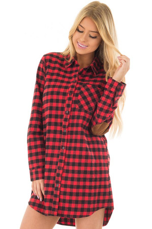 Red Plaid Collared Dress with Camel Faux Suede Elbow Patches front closeup