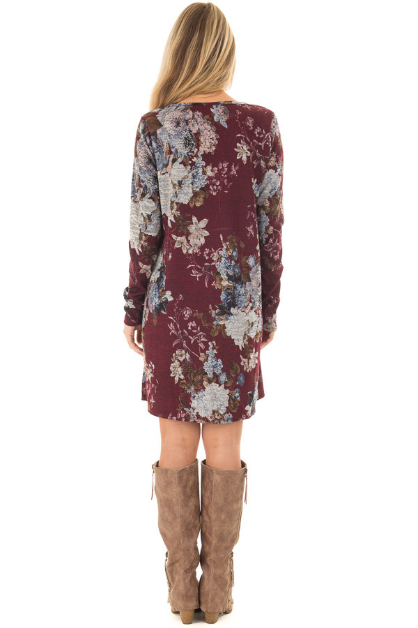 Burgundy and Dusty Blue Floral Print Long Sleeve Dress back full body
