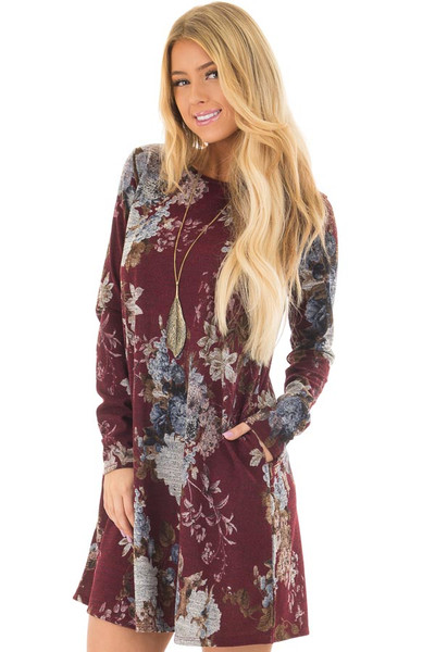 Burgundy and Dusty Blue Floral Print Long Sleeve Dress front closeup