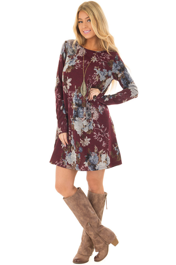 Burgundy and Dusty Blue Floral Print Long Sleeve Dress front full body
