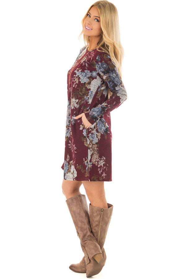 Burgundy and Dusty Blue Floral Print Long Sleeve Dress side full body