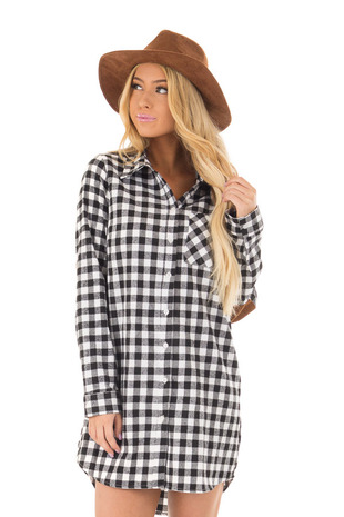White Plaid Collared Dress with Faux Suede Elbow Patches front closeup